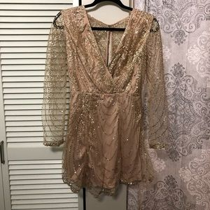 Gold Long Sleeve Sparkle Dress from Hello Molly